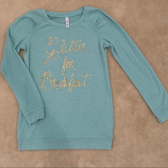 e499df87cfc4 xhilaration Shirts & Tops | Girls Glitter For Breakfast | Poshmark